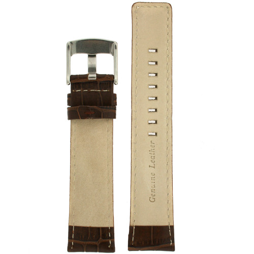 Watch Band Genuine Leather Dark Brown Sports Alligator Grain - Main
