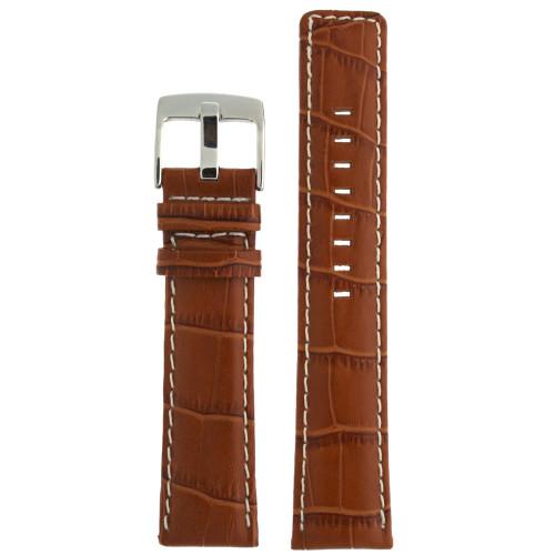 Watch Band Genuine Leather Honey Brown Sports Alligator Grain