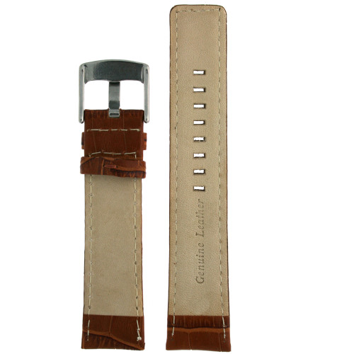 Watch Band Genuine Leather Honey Brown Sports Alligator Grain - Main