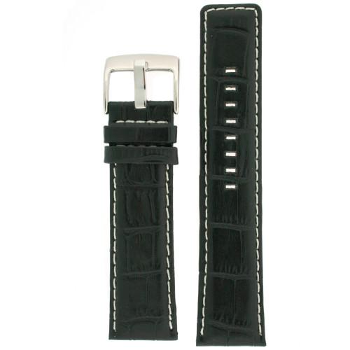 Watch Band Genuine Calfskin Leather Black Sports Alligator Grain