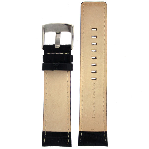Watch Band Genuine Calfskin Leather Black Sports Alligator Grain - Main