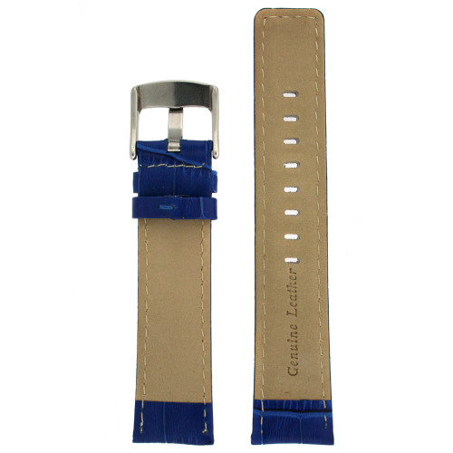 Watch Band Genuine Calfskin Leather Royal Blue Sports Alligator Grain - Main