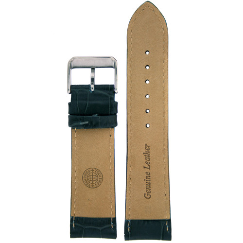 Grey Leather Watch Band in Alligator Grain by Tech Swiss - Bottom View - Main