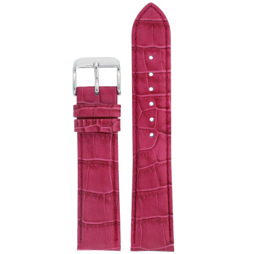 Watch Band Fuchsia Genuine Leather Alligator Grain