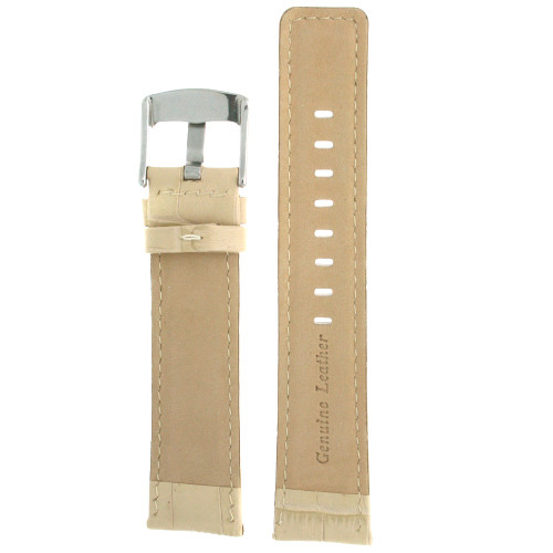 Watch Band Genuine Calfskin Leather Cream Sports Alligator Grain - Main
