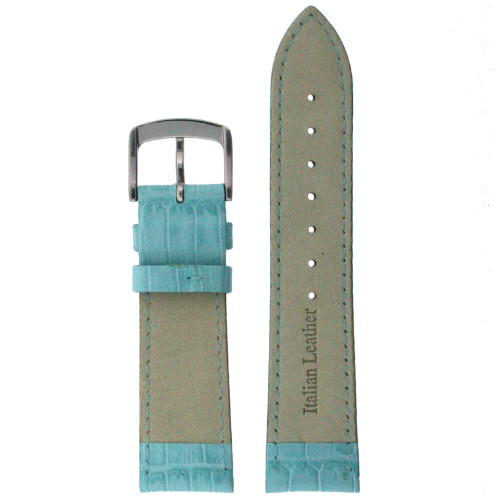 Leather Watch Band with Alligator Grain in Aqua - Bottom View - Main