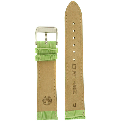 Leather Watch Band with Alligator Grain Print in Lime Green by Tech Swiss - Interior View - Main