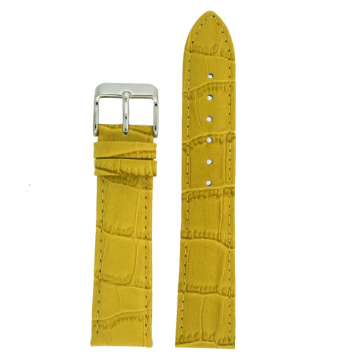 Yellow Leather Watch Band with Alligator Grain by Tech Swiss - Top View