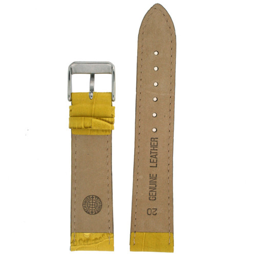 Yellow Leather Watch Band with Alligator Grain by Tech Swiss - Bottom View