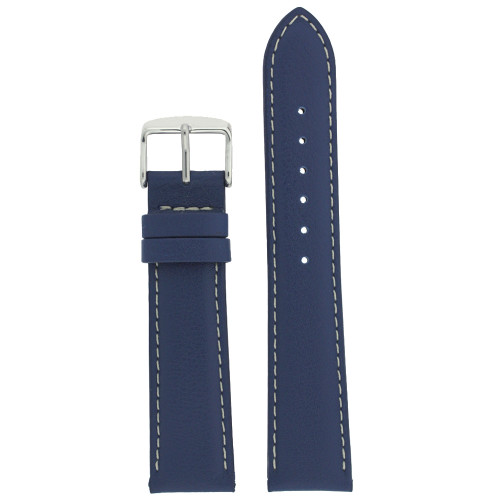 Blue Leather Watch Band by Tech Swiss - Top View