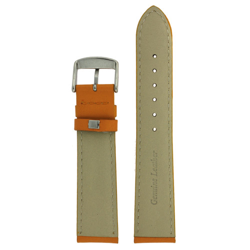 Orange Leather Watch Band by Tech Swiss - Bottom View - Main