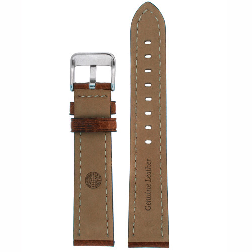 Leather Watch Band in Brown by Tech Swiss - bottom view - Main