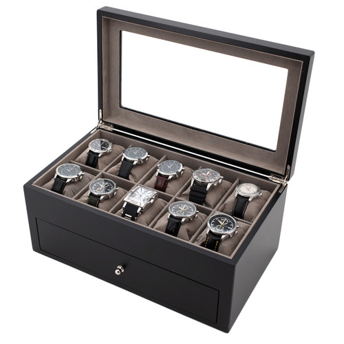 Wood Watch & Jewelry Case for Men | Clear Display Window | Tech Swiss | TSVL200BK | Main Photo