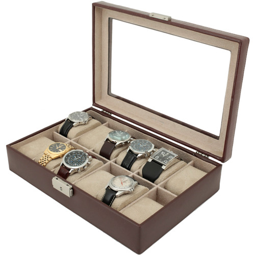 Watch Box Storage Case Brown Leather 12 Watches Window - Main