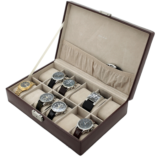 Watch Box Storage Case Brown Leather Crocodiledile Grain 12 Watches - Main