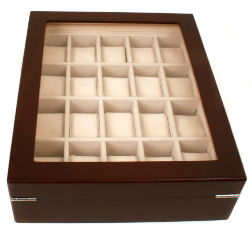 Watch Box Storage for 20 Watches Extra Clearance Burl Wood Finish Inlaid Top - Main