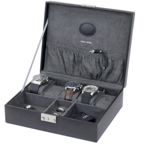 Black Leather Storage Valet Case for Watches and Jewelry Cuff Links - Main