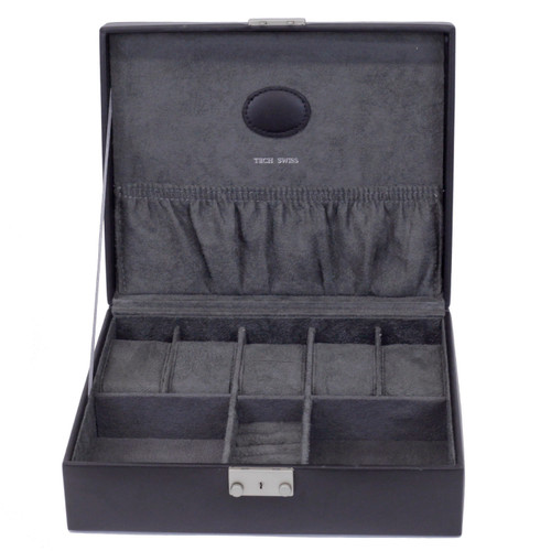 Black Leather Storage Valet Case for Watches and Jewelry Cuff Links