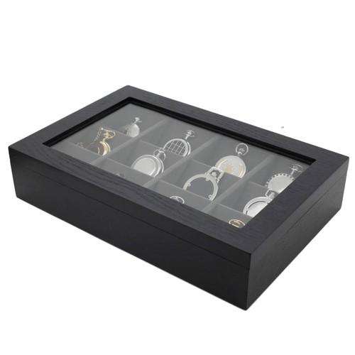 Black Wood Pocket Watch Box Valet | Tech Swiss Case | TSPKT12BK | Side