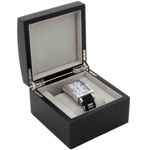 Single Watch Box 1 Extra Large Watch Wood Black Finish Removable Cushion - Main