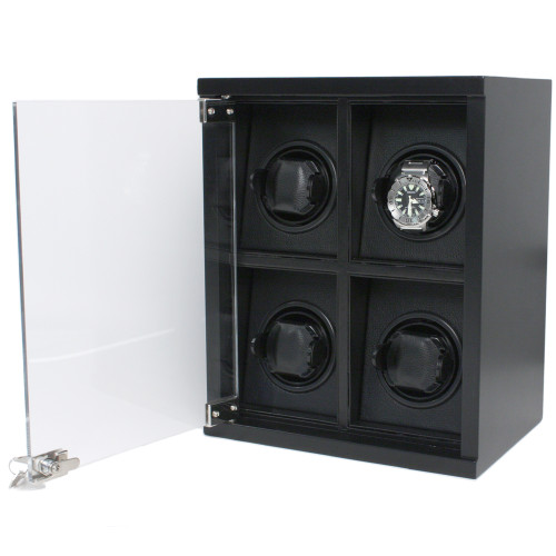 Black Watch Winder | Large Wood Watch Winder | Modern Watch Winder Tech Swiss TSW400CF | Carbon Fiber Print Automatic Watch Winder | Watch
