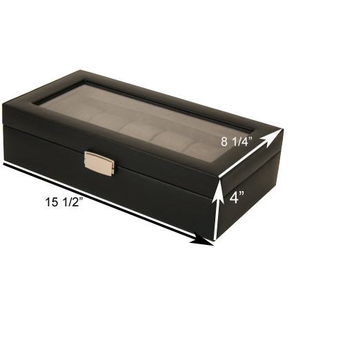 12 Watch Box XL Black Leather Large Compartments High Clearance Glass Window - Main
