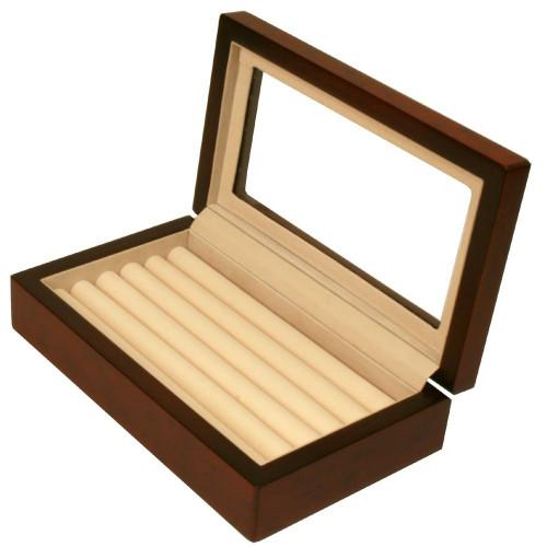 Ring Box Storage Display Case 7 Rows Burl Wood Matte Finish Window