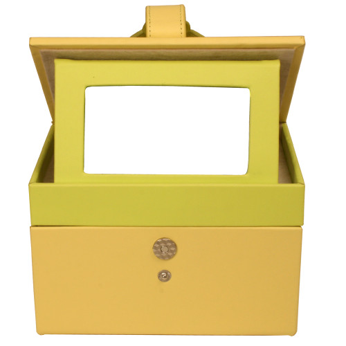 Leather Jewelry Case with Yellow Lime Trim FLower Buckle - Main