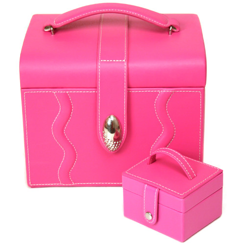 Pink Leather Large Jewelry Box with Rhinestone Buckle and Travel Case - Main