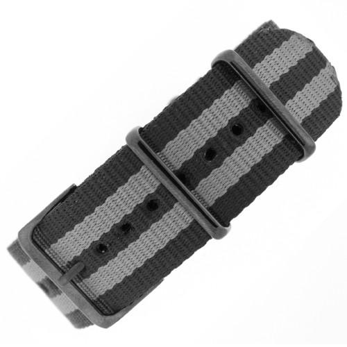 Watch Band Nylon One Piece Military Sport Grey Black Stripe Black