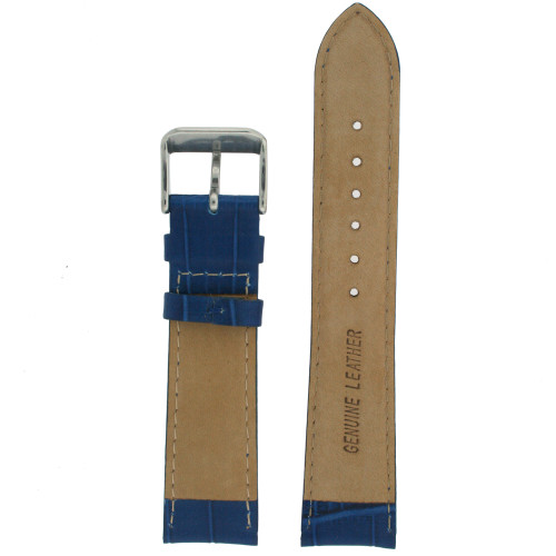 Watch Band Dark Sky Blue Genuine Leather Alligator Grain - Main