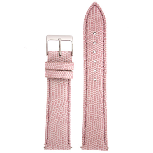 Watch Band Genuine Leather Lizard Grain Pink Quick Release Built-in Pins