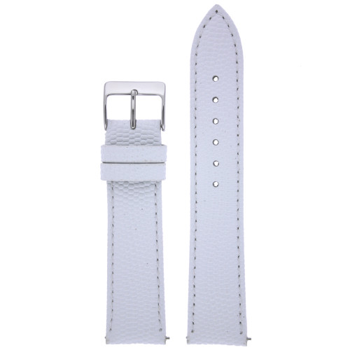 Watch Band Genuine Leather Lizard Grain White Quick Release Built-in Pins