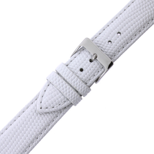 Watch Band Genuine Leather Lizard Grain White Quick Release Built-in Pins - Main