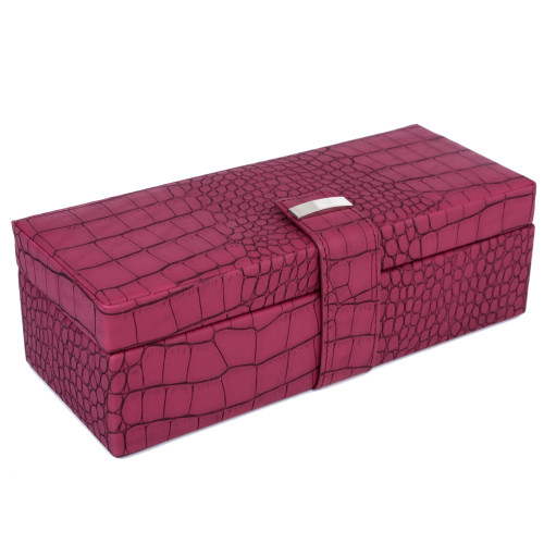 Magenta Watch Box for 5 Watches in Embossed Crocodile Print | TS6532CRO-W | Main