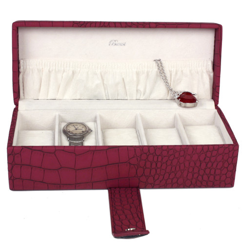 Magenta Watch Box for 5 Watches in Embossed Crocodile Print | TS6532CRO-W | Open