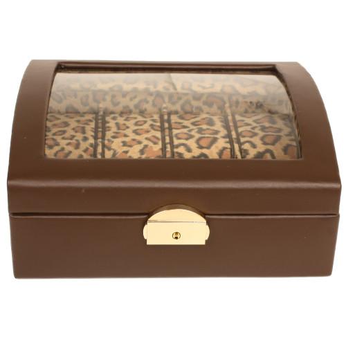 Watch Box Storage Case Brown Leather 10 Watches Window Animal Print - Main