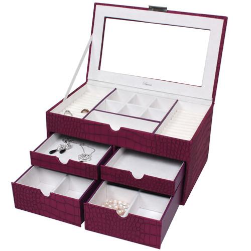 Large Jewelry Box Chest Organizer Animal Print in Magenta - Main