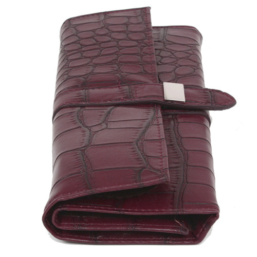 Personal Travel Jewelry Clutch Leather Crocodiledile Print Burgundy - Main
