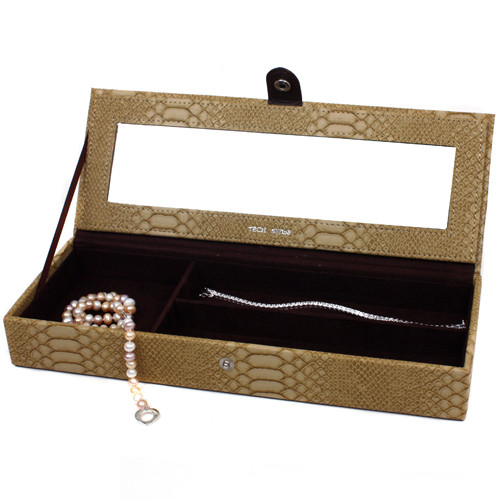 Travel Jewelry Box Organizer Valet with Compartments Animal Motif Tan - Main