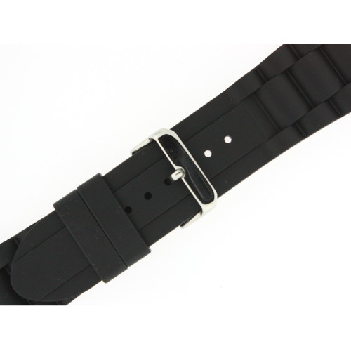 Watch Silicone Rubber Link Style Black Strap Waterproof Stainless Buckle - Main