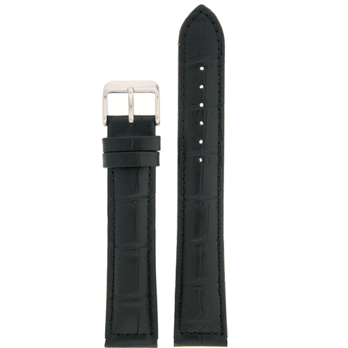 Leather Watch band by Tech Swiss in Black - Top View