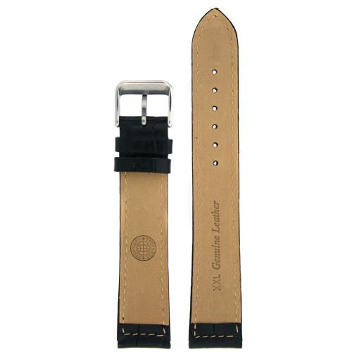 Leather Watch band by Tech Swiss in Black - Bottom View - Main
