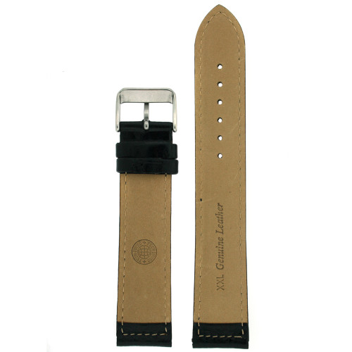 Extra Long Watch Band in Black Leather by Tech Swiss - Bottom View - Main