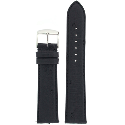 Watch band in genuine ostrich leather in black