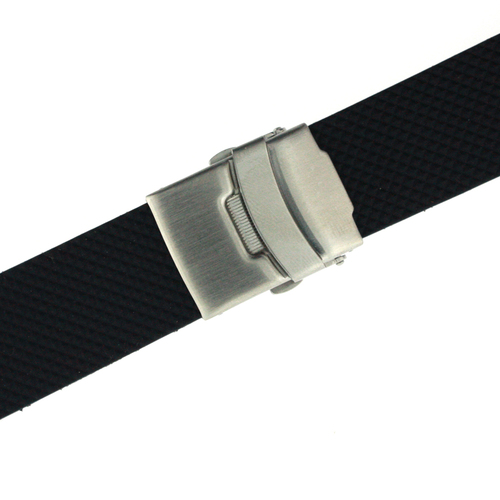 20mm or 22mm Watch Band Waterproof Strap Adjustable Rubber Stainless Deployment Buckle
