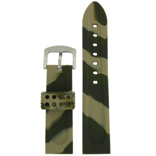 Watch Band Silicone Rubber Heavy Military Camouflage Army Green Strap - Main