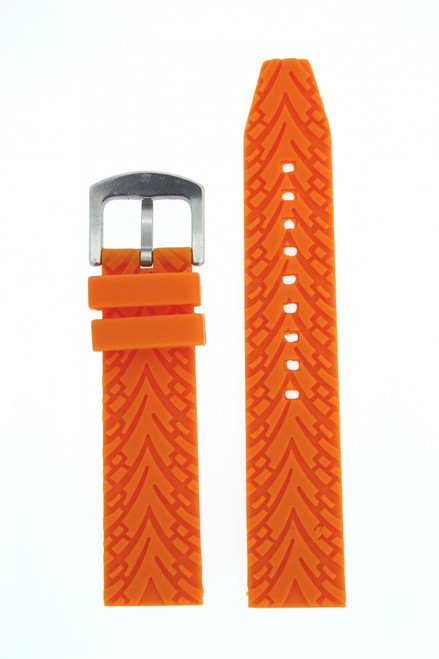 Watch Band Silicone Rubber Heavy Orange Strap Waterproof 22mm - Main