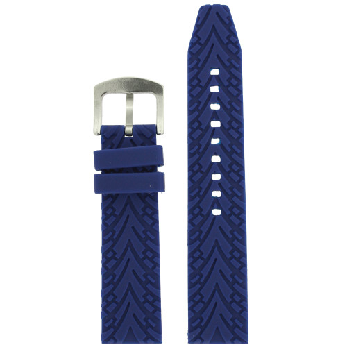 Watch Band Silicone Rubber Heavy Blue Strap Waterproof 22mm - Main