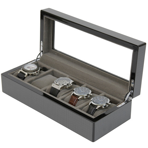 5 Watch Box Grey Carbon Fiber Finish Display Window silver tone Hardware